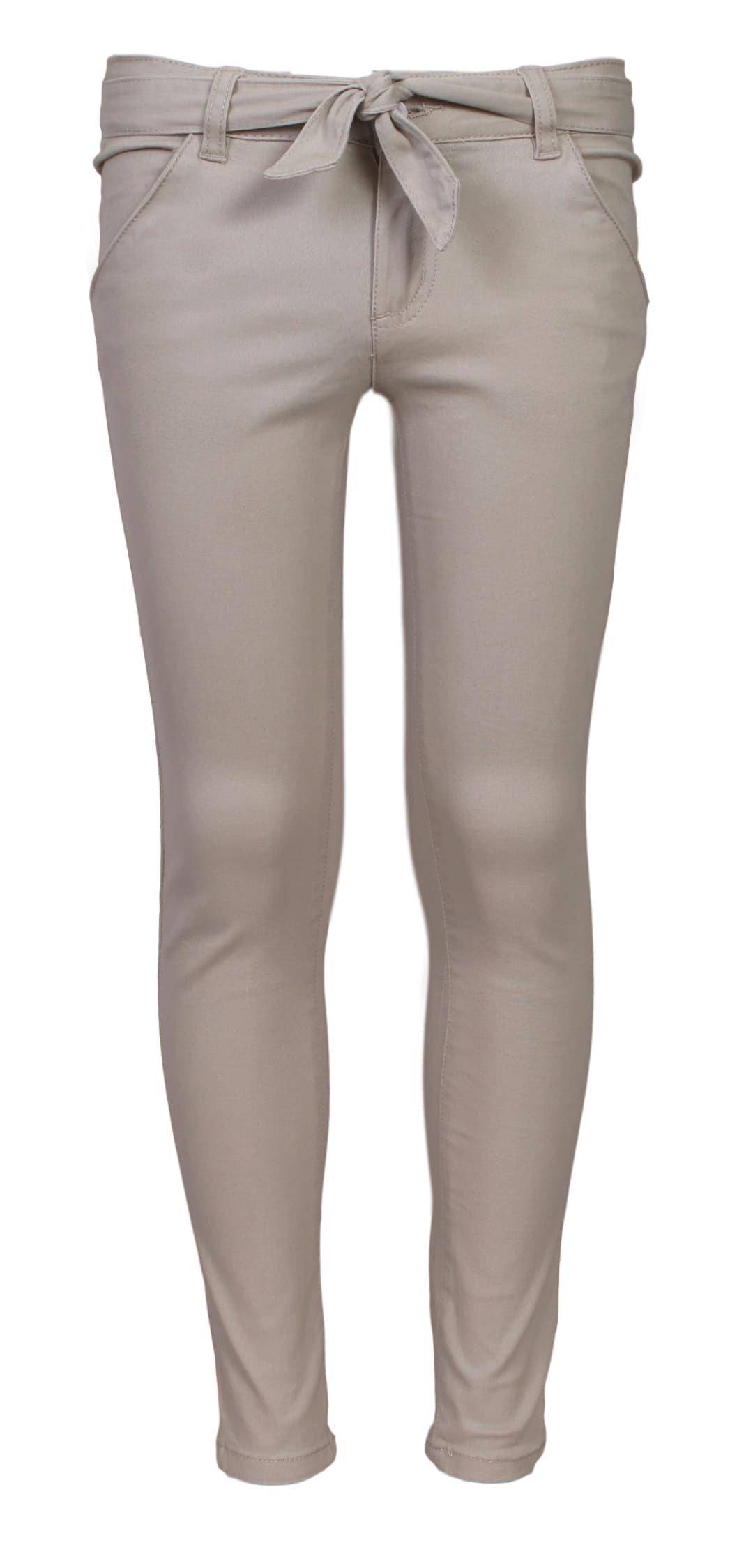 'Beverly Hills Polo Club Girls School Uniform Skinny Flat Front Stretch Twill Pants, Khaki, Size 10'