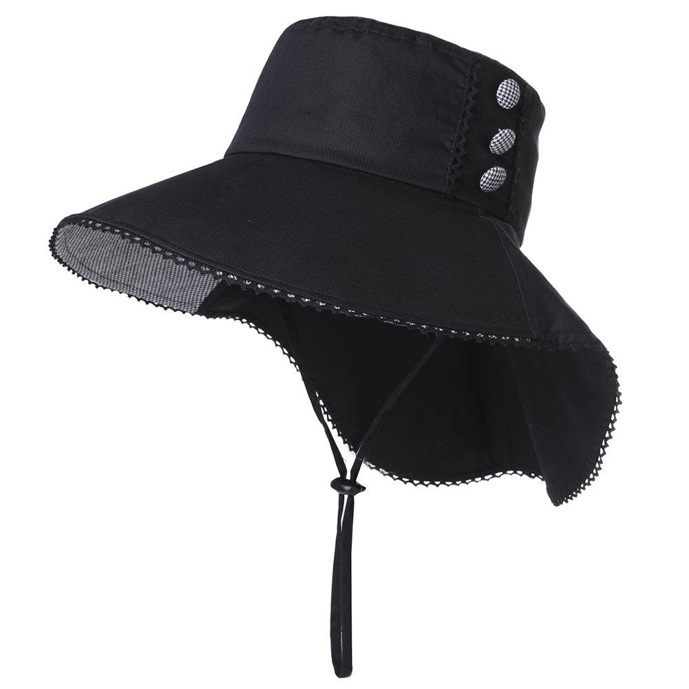 UV Protection Sun Hats Women Summer Gardening Fishing Hiking Travel Shade Hat Wide Brim Foldable Cotton Black Siggi