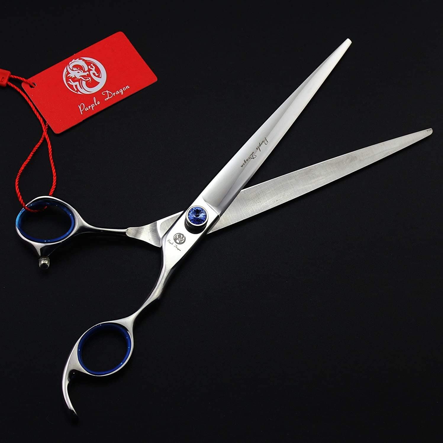 Amazon Com Purple Dragon 8 0 Inch Professional 442c Pet Grooming Scissors Dog Straight Shear Chunker Curved Shear Set With Pet Comb And Bag