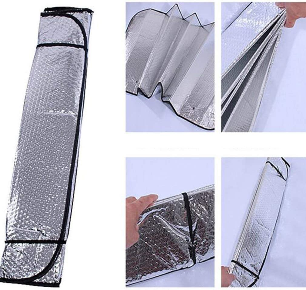 Queenaal Car Windshield Sunshades Cover Casual Foldable Front Rear Sun Reflective Shade Silver 130X60Cm