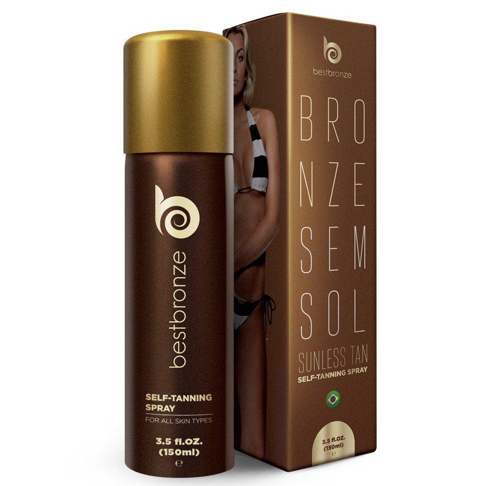 #1 Brazilian BEST SELLER Self Tanner, Best Bronze SELF TAN Spray, 3.5 fl.oz, body and face, perfect tan, golden brown natural looking color for all skin types, long lasting, flawless, doesn't stain