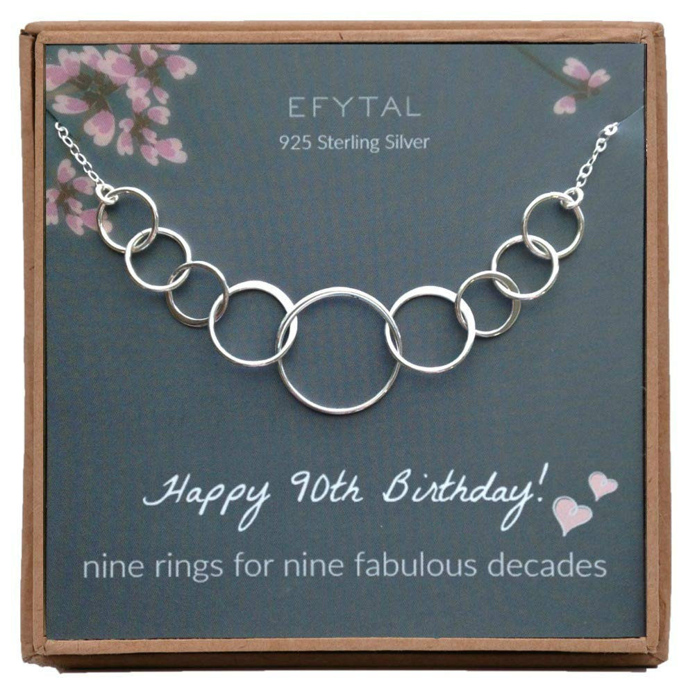 EFYTAL 90th Birthday Gifts for Women, Sterling Silver Nine Circle Necklace for Her, 9 Decade Jewelry 90 Years Old