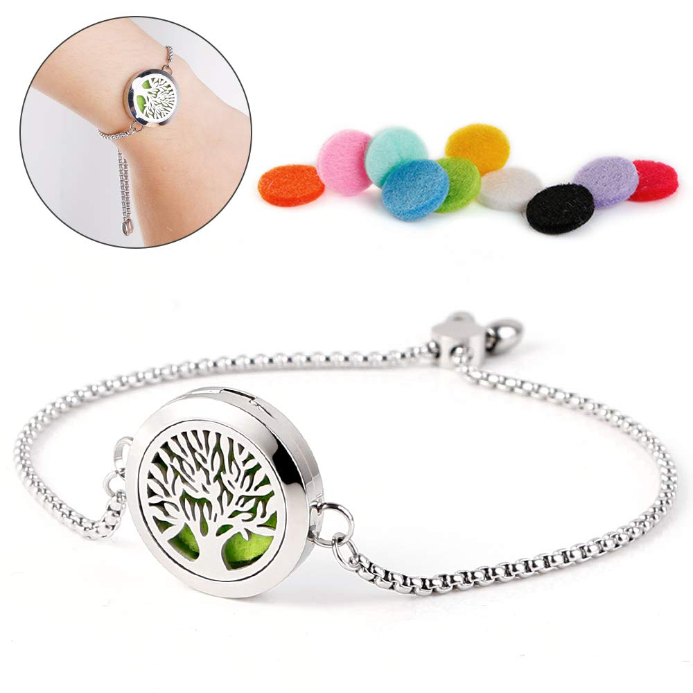 Maromalife Adjustable Diffuser Bracelet Locket Slide Healing Bracelet Stainless Steel Tree of Life Locket + 10 Colors Felt Pads