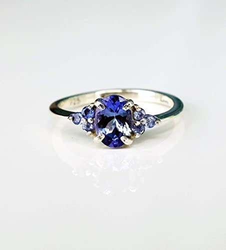 21st birthday gift for her dainty ring Blue Tanzanite ring gemstone ring graduation gift rose gold engagement ring Mother/'s day gift