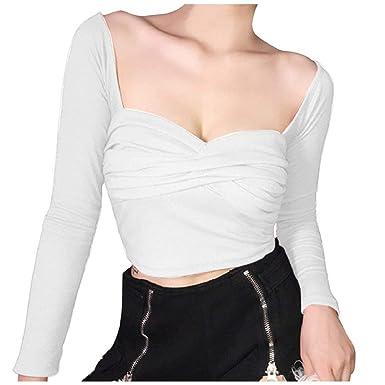 DEELIN Tops para Mujer Blusa Camiseta Moda V-Cuello Sólido Cross ...