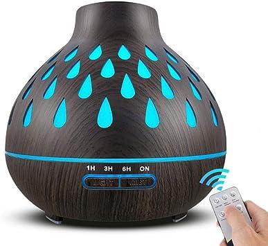 アロマディフューザー、400ミリリットルエッセンシャルオイルディフューザー、7色LEDライト、放射線フリー、リビングルームのベッドルームのオフィス用