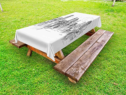 Ambesonne New York Outdoor Tablecloth, Hand Drawn NYC Cityscape Tourism Travel Industrial Center Town Modern City Design, Decorative Washable Picnic Table Cloth, 58 X 104 inches, Grey White