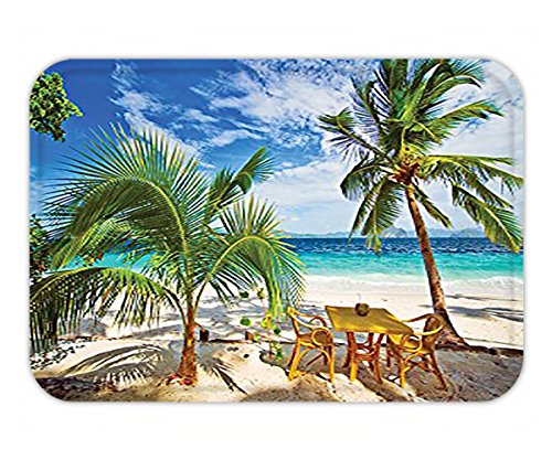 Minicoso Doormat Coastal Decor Collection Dining in Beach under Sunlight Palm Trees and Shadows Shades Luxurious Vacation Print Yellow Ivory - Shades Beyonce In
