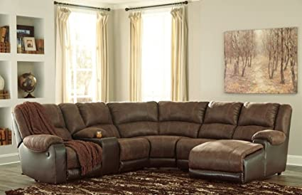 Signature Design Nantahala RAF Sect. Sofa W/ Recliners By Ashley