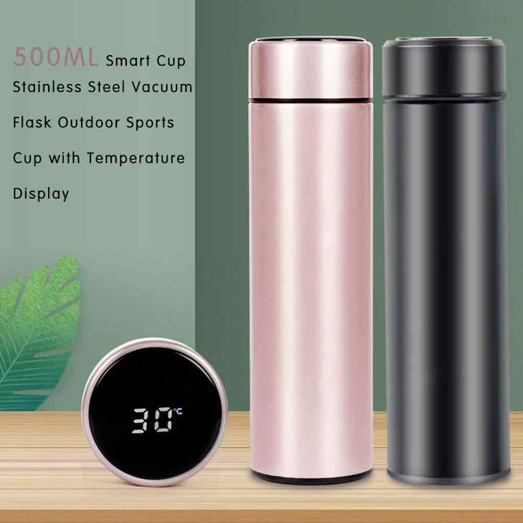 ODJOY-Fan LED Thermo Tazza Temperatura Display Touch Tazza Lntelligente Lnossidabile Thermos Bottiglia Acqua, Borraccia Termica 500ML,Senza BPA Mantenere Caldo/Freddo e 3pcs Spazzola di Pulizia