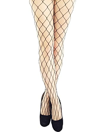26187b51943 Yummy Bee Tights Net Whale Fishnet Black Large Diamond Plus Size Ladies   Amazon.co.uk  Clothing
