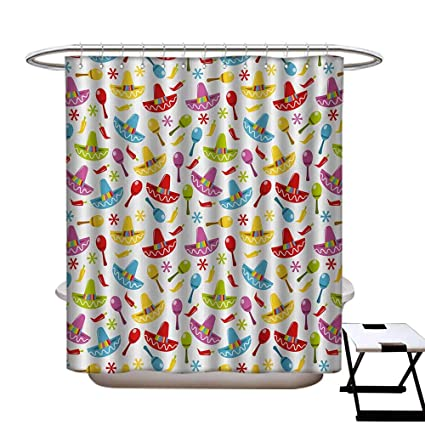 Fiesta Shower Curtain Customized Abstract Sombrero And Maracas Pattern Geometric Star Design Colorful Illustration Bathroom Accessories