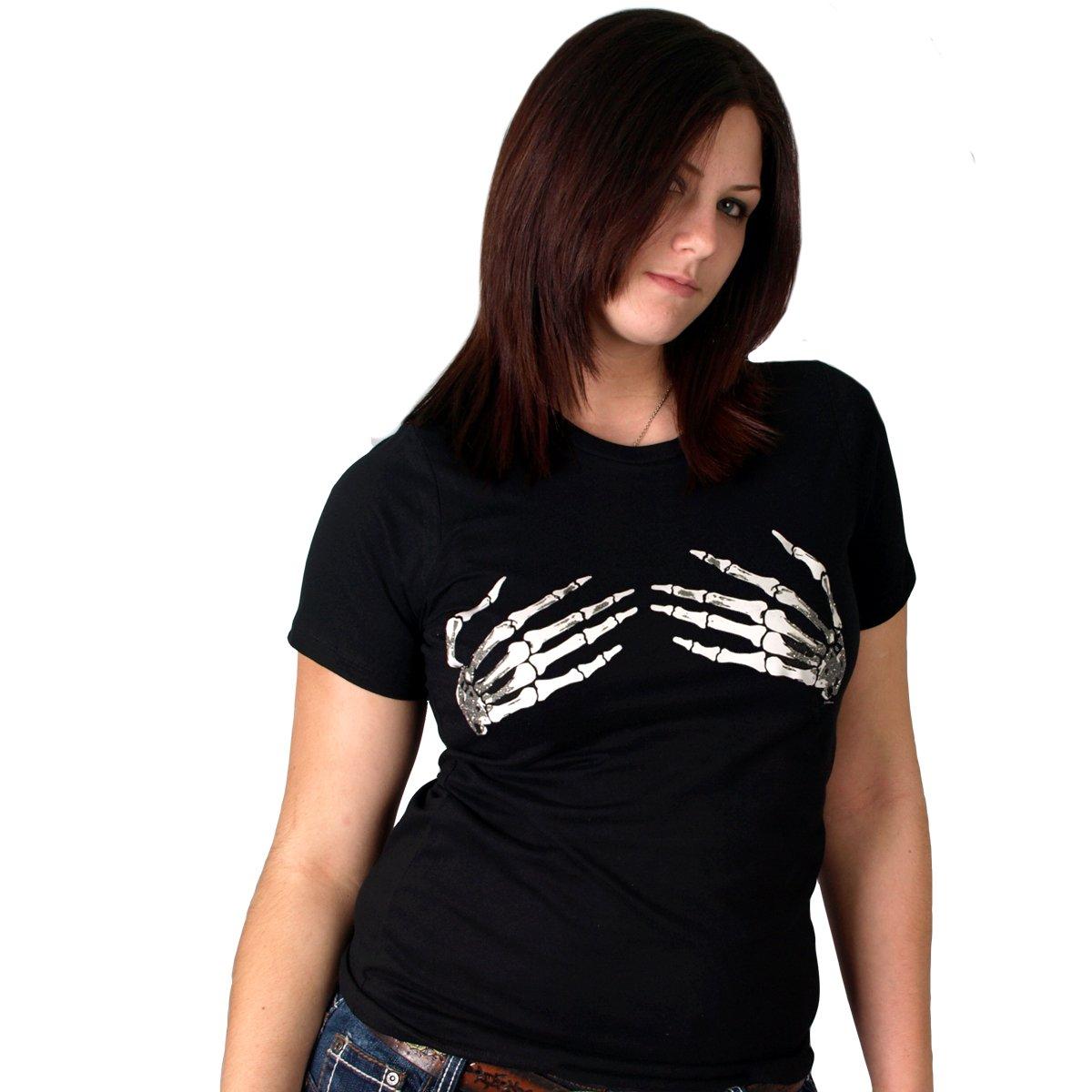 Hot Leathers Skeleton Hands Ladies Short Sleeve Tee Black, Large