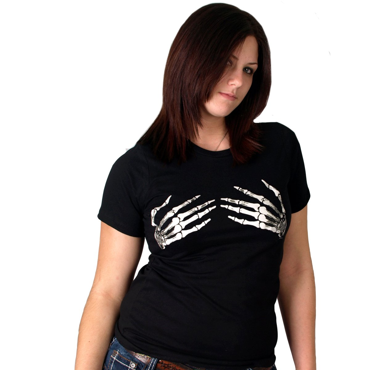 Hot Leathers Skeleton Hands Ladies Short Sleeve Tee (Black, XX-Large)