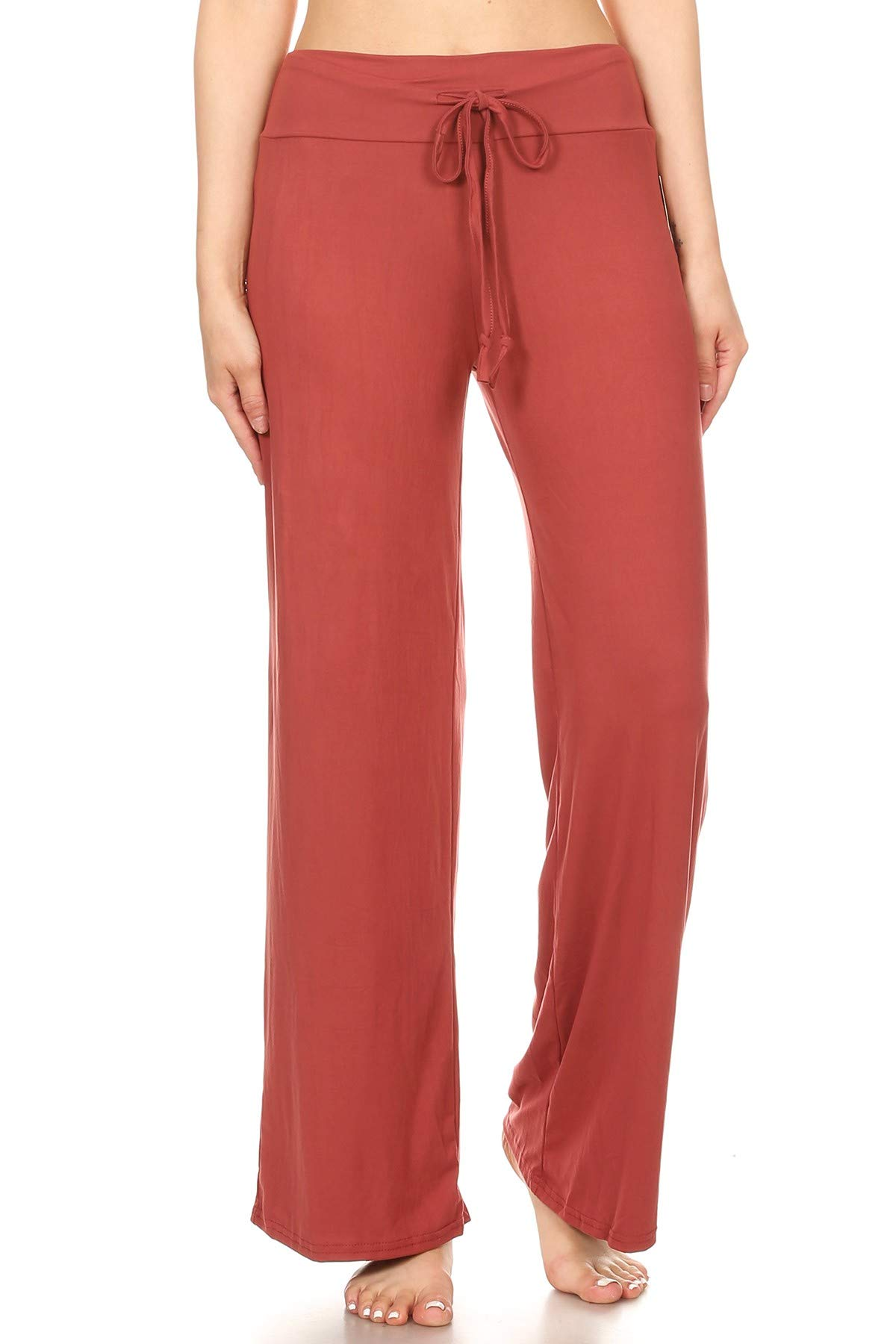 Leggings Depot PJ10SOLID-MARSALA-XL Lounge Solid Pants, X-Large by Leggings Depot