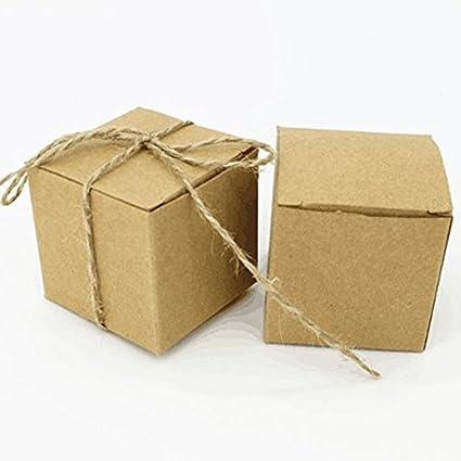 Cajas cúbicas de papel kraft con cuerda de cáñamo natural, 50 unidades