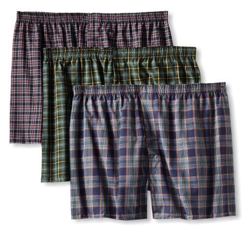 Fruit of the Loom Men's BigTartan Woven Boxer, Assorted, 3X-Large(Pack of 3)