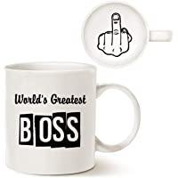 Funny Best Boss Office Coffee Mug Christmas Gifts, World's Greatest Boss Unique Present Idea Porcelain Cup, Gag Gifts Idea for Bosses Day 11 Oz