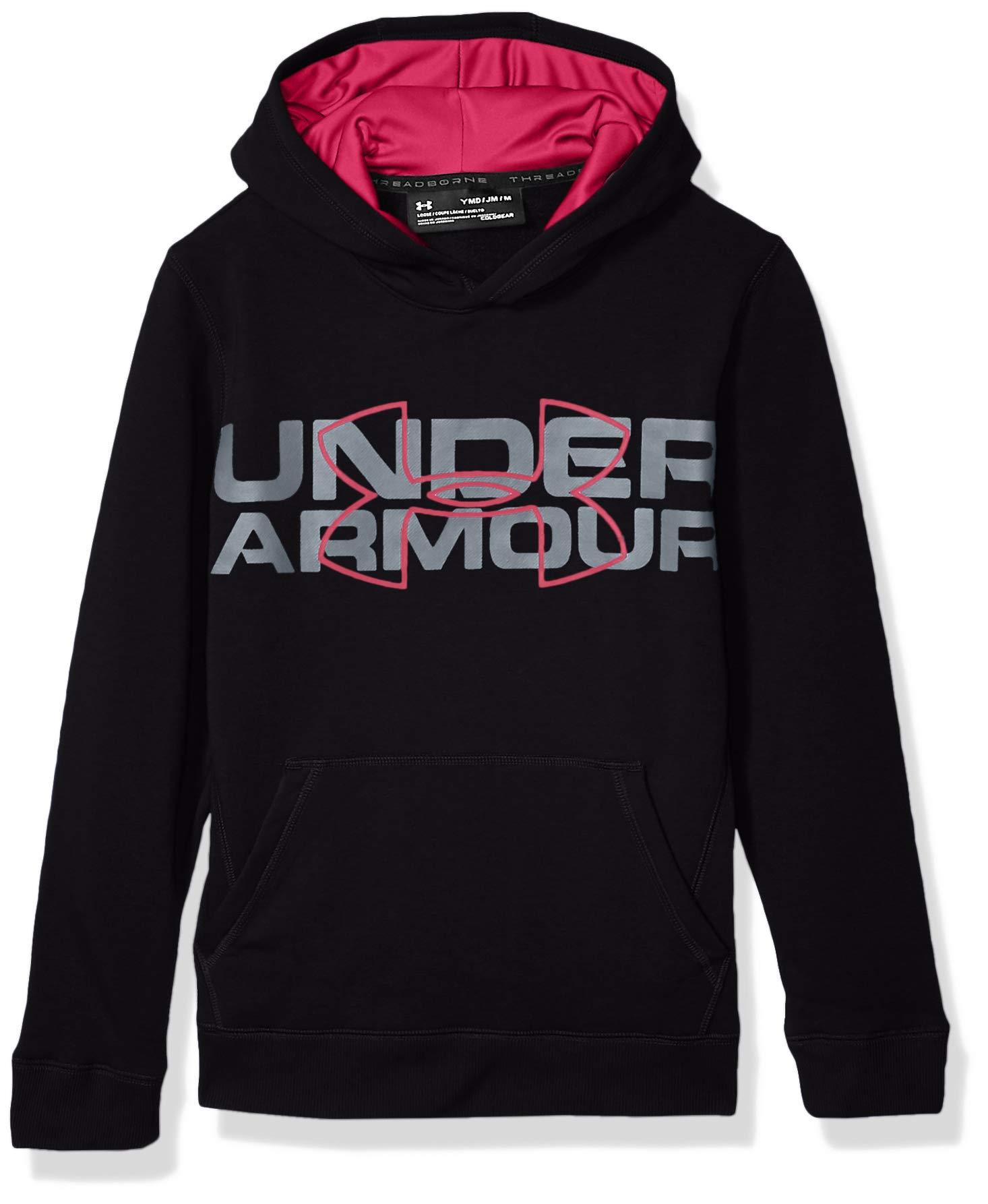 Under Armour Boys' Threadborne Logo Hoodie, Black /Tropic Pink, Youth Large by Under Armour