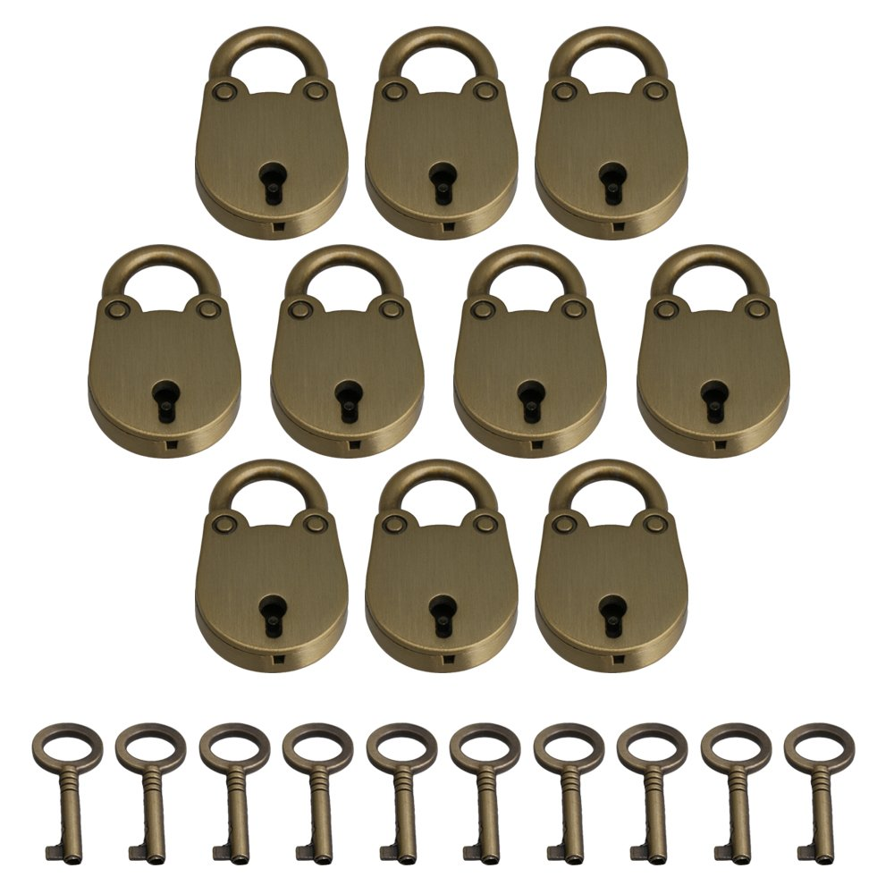 Yibuy 10 Piece Bronze Mini Padlock Lock with Key for Jewelry Box Diary Book by Yibuy