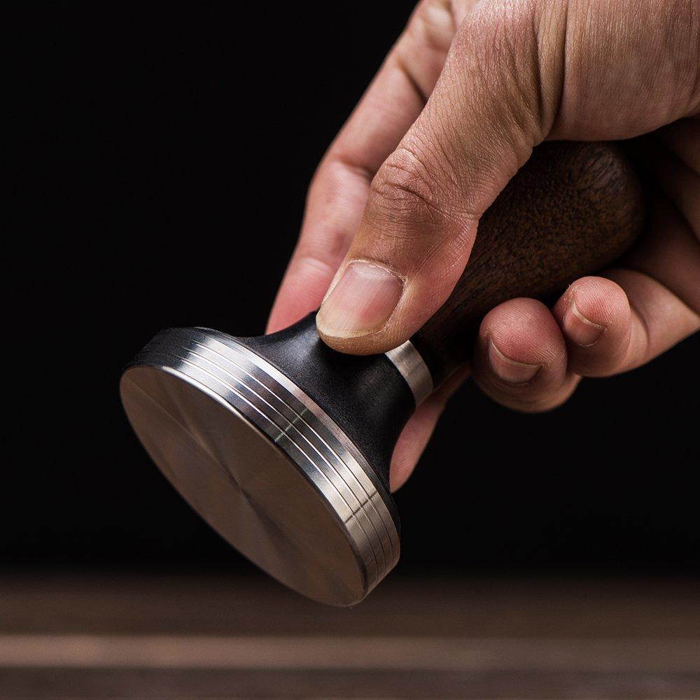 Diguo Elegance Wooden Coffee Tamper. Flat Espresso Tamper 58mm Portafilter. Stainless Steel Flat Height Adjustable Wooden Handle. Barista Espresso Tamper by Diguo (Image #3)