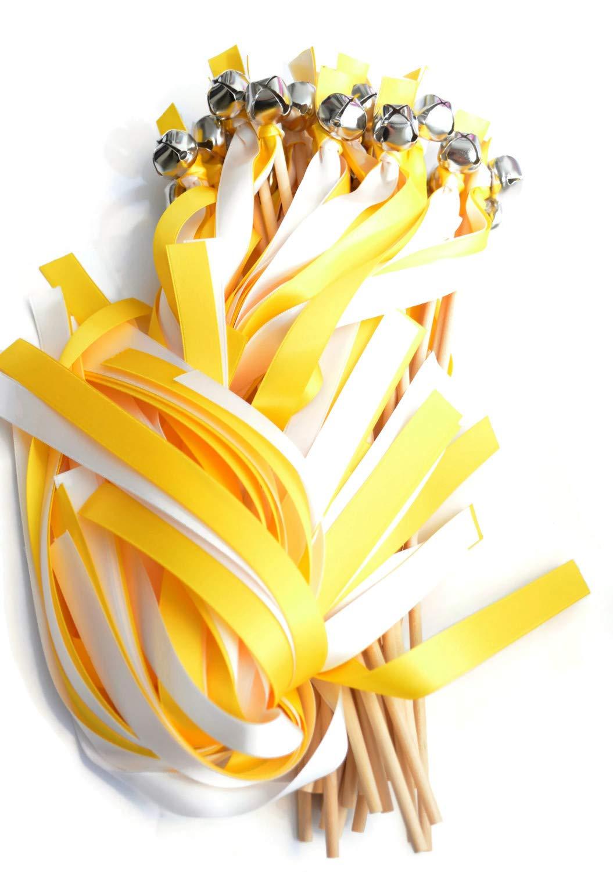 100 Daffodil Yellow & White Ribbon Silver Bell Wedding Wands #DivinityBraid #SendOffBells #WeddingWands #Wedding #Favors #CeremonySendOff #Party #KissingBells #RibbonWands