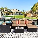 Cloud Mountain 6 Piece Rattan Wicker Furniture Set Outdoor Patio Garden Sectional Sofa Set Cushions Roma Stripe Pillows, Black