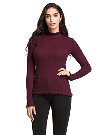 5e6070e4caf Lynz Pure Women s Mock Neck Sweater Long Sleeve Ruffle Trim Ribbed Knit  Pullover Tops Dark Red