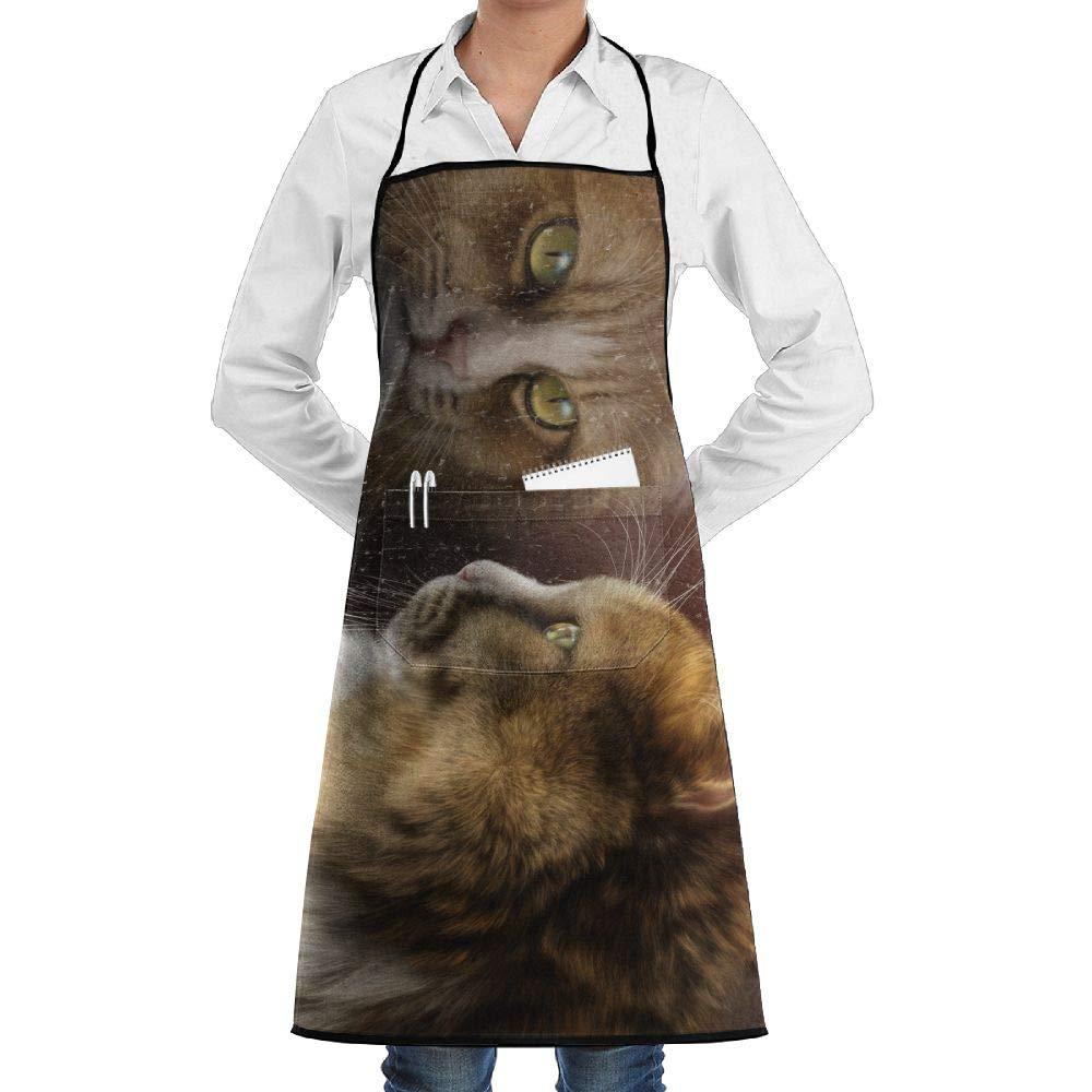 NRIEG Fantasy Cat Window Reflection Faction Unisex Kitchen Cooking Garden Apron,Convenient Adjustable Sewing Pocket Waterproof Chef Aprons