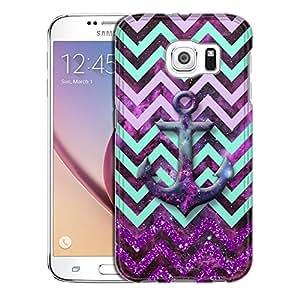 Samsung Galaxy S6 Case, Slim Snap On Cover Anchor on Chevron Glitter Green Purple on Nebula Case