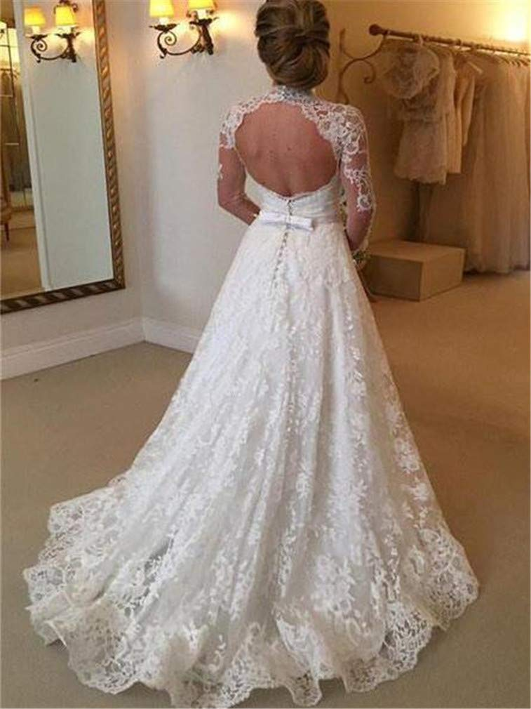 370fbf5a916da Amazon.com: SPP PANDA White Wedding Dresses for Bride Bride Long Sleeve  Bride UK Lace Perspective Wedding Dress Long Skirt [S,M,L,XL]: Kitchen &  Dining