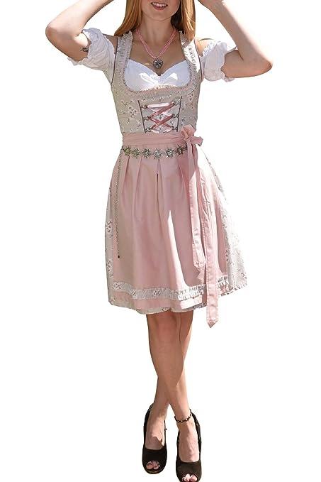 Golden Trachten-Kleid Dirndl Damen 3 TLG, Midi für Oktoberfest, mit Schürze und Bluse, 502GT