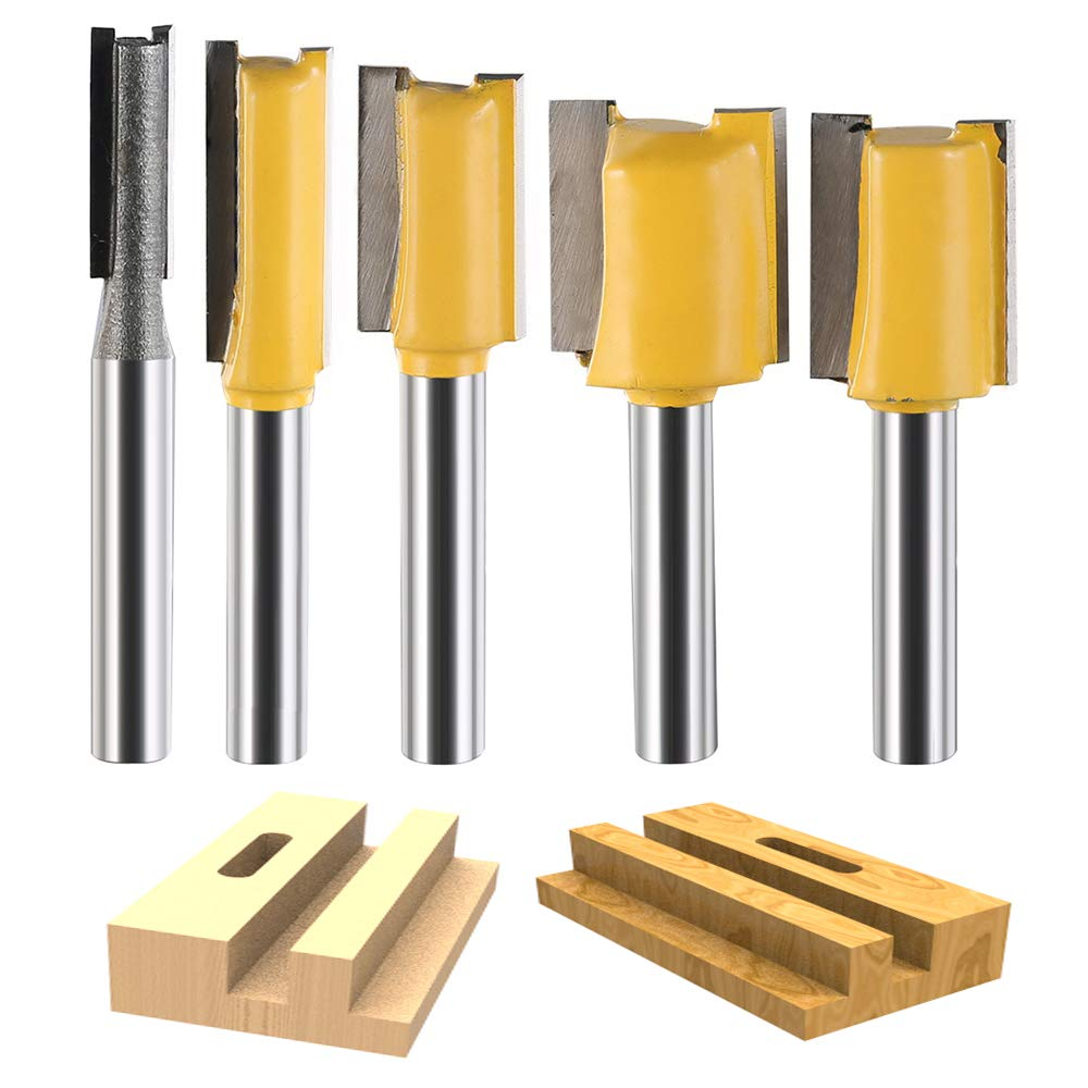 KitsPro 5 Pcs Straight Router Bit Set 1/4'' Shank for all kinds of dado and straight cut routing(Yellow)