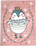 KC CUBS Boy and Girl Bedroom Modern Decor Pink Blue White Area Rug and Carpet Collection For Kids and Children (3' 11'' x 5' 3'', Princess Sophie The Penguin)