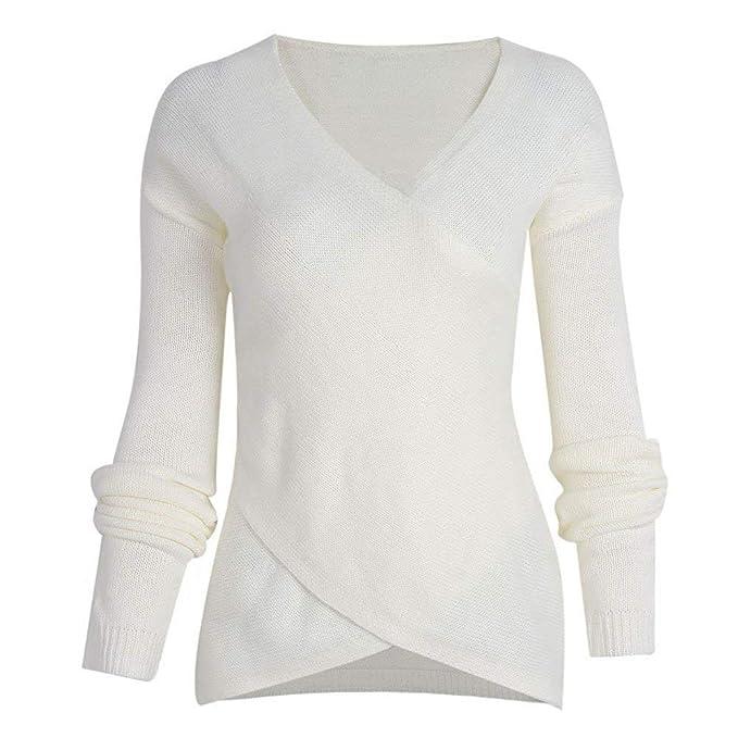 cheap for discount 99360 dd49d Pullover da Donna Pullover A Maniche Lunghe con Scollo A V ...