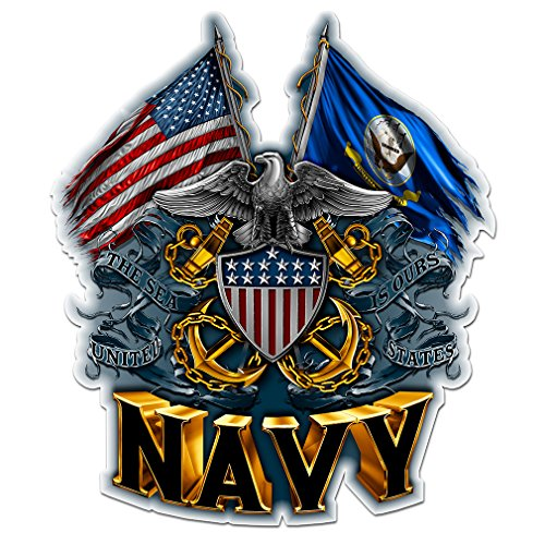 Navy Decals, Show Your Pride with our DOUBLE FLAG EAGLE NAVY SHIELD Patriotic Decals, Perfect for Your Kitchen, Car, Wall or Bike, Gifts for Sailors (12IN)