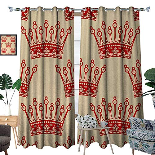 Queen Waterproof Window Curtain Crowns Pattern in Red Vintage Design Coronation Imperial Kingdom Nobility Theme Blackout Draperies for Bedroom W120 x L84 Orange and Tan