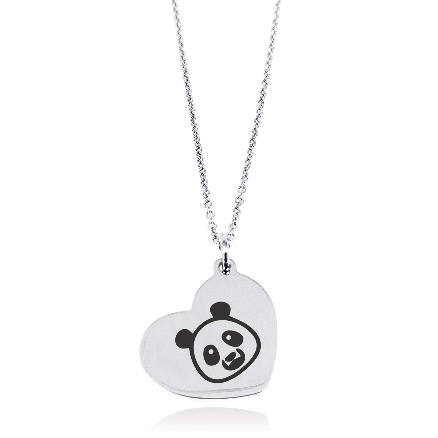 Tioneer Stainless Steel Panda Icon Floating Heart Tag Charm Pendant Necklace