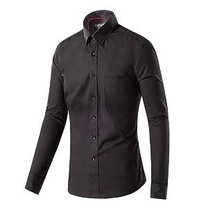 Sainfee Men's Casual Long Sleeve Slim Fit Cotton Button Down Dress Shirt (Medium, Black)