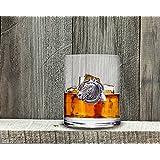 "Vagabond House Equestrian Horseshoe Double Old Fashion Bar Glass 4.25"" Tall/8oz"