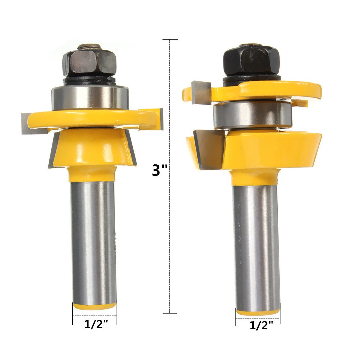 Agile-Shop 2pcs Rail & Stile Router Bit Set with 1/2 inch Shank Shaker for Woodworking