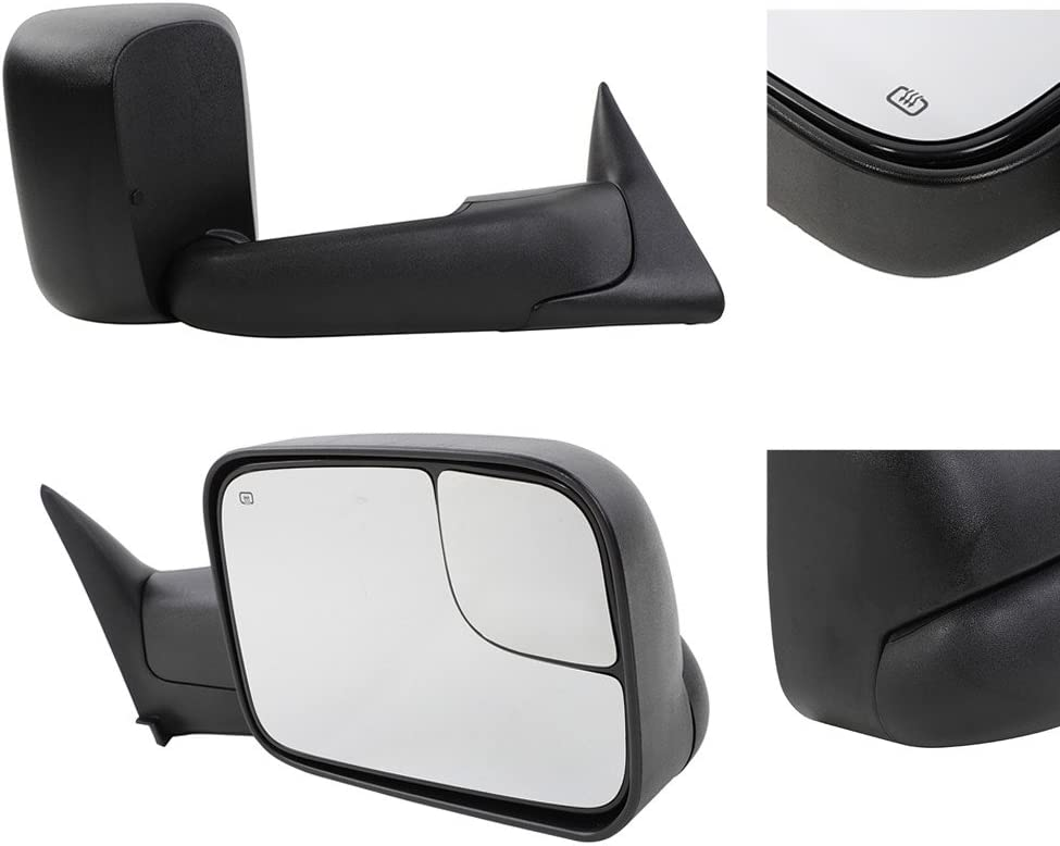 Tow Mirrors Fit for 1998-2001 Dodge Ram 1500 /& 1998-2002 Dodge Ram 2500 3500 Truck Power Heated Flip Up Manual Telescoping Folding Side Mirrors with Brackets