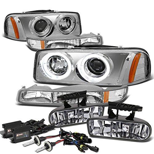Sierra/Yukon GMT800 Dual Halo Projector Headlight Kit (Chrome Amber)+Fog Light (Clear)+9006 HID 12000K+Slim Ballasts (Fog Lights Hid 12000k 9006 compare prices)