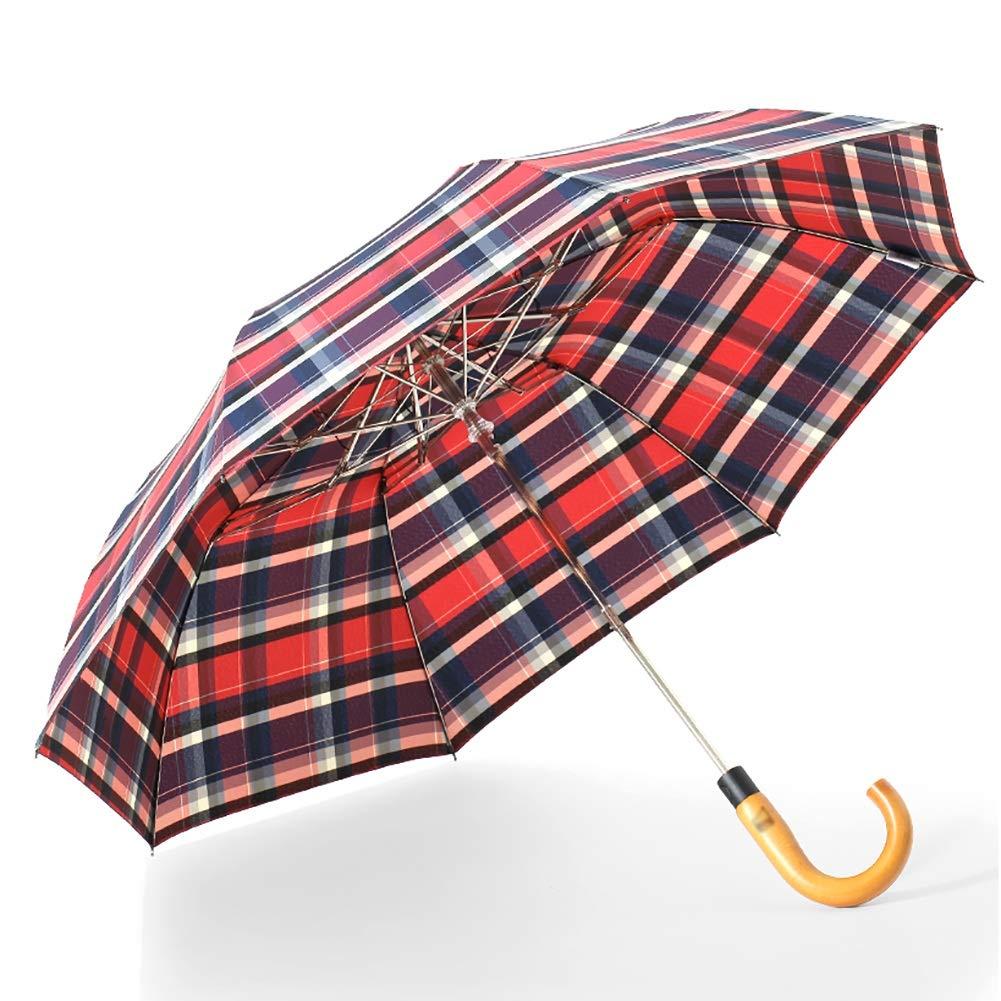 長傘 女性のための赤い正方形の木のハンドル折る傘、携帯用旅行/ビジネス傘(40.5インチ/防風) B07RTXXPHV