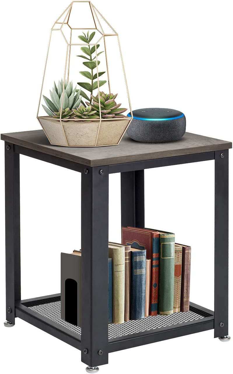 Sorbus 2-Tier Square Side Table, Industrial End Tables for Living Room, Small Nightstand Great for Bed, Couch, Sofa, Wood Accent Furniture, Rustic Farmhouse Style, Metal Frame Rustic Gray