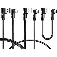 aceyoon Cable USB Tipo C 90 Grados 3 Paquetes doble Ángulo Recto USB C 1ft / 3ft / 6ft USB 2.0 a USB C Sincronización de Datos y Carga Rápida 2A Trenzado Cable para Pixel, Mate 20/20 pro,Galaxy S9/S8/Note 8, Moto
