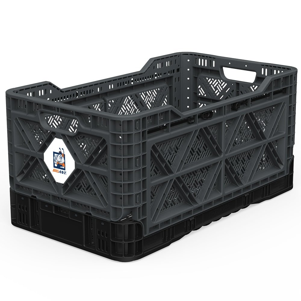BIGANT Heavy Duty Collapsible & Stackable Plastic Milk Crate - IP734235, 23.8 Gallons, Large Size, Charc.Gray, Set of 1, Absolute Snap Lock Foldable Industrial Storage Bin Container Utility Basket by BIGANT