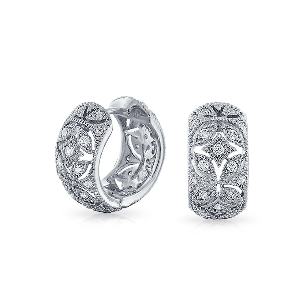 Victorian Style Pave CZ Rhodium Plated Huggie Hoop Earrings