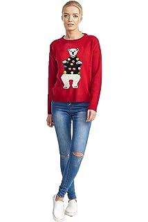 b515924f8f3 Brave Soul Women's Puggy Christmas Jumper: Amazon.co.uk: Clothing