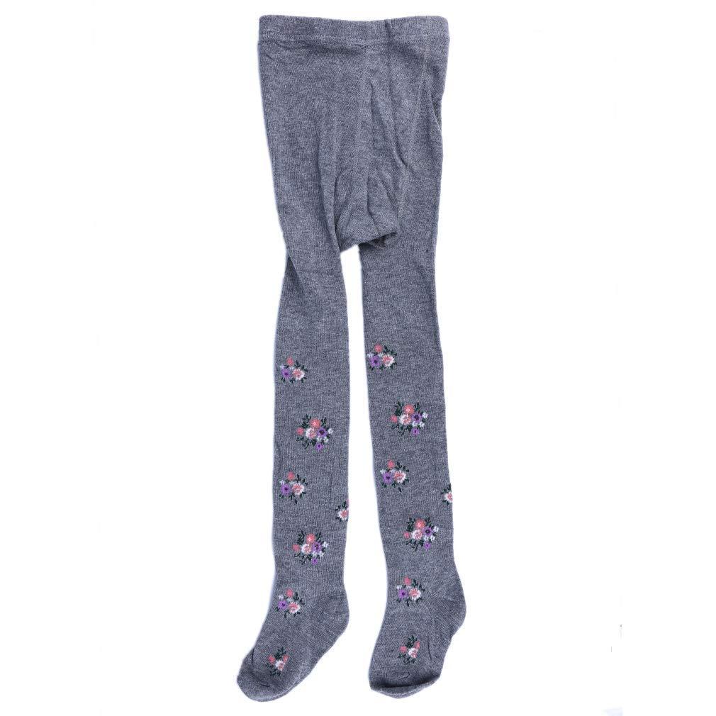 Yevison Pantyhose Children's Floral Pantyhose Dance Socks Tights Leggings Flower Print Stocking Pantyhose Winter Warm Stockings,Light gray High Quality